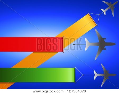 Silhouettes Airplanes Flying with Colorful Banners Over Blue Background