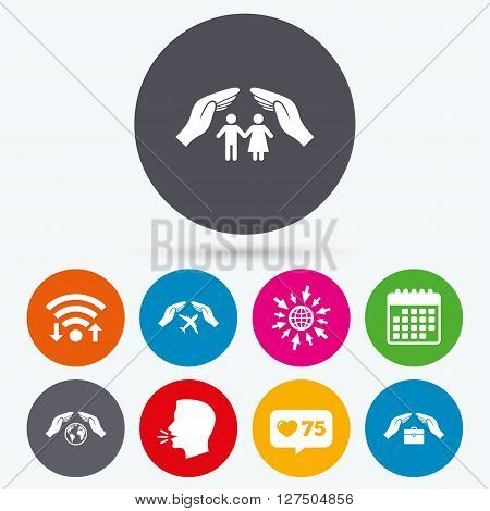 Wifi, like counter and calendar icons. Hands insurance icons. Human life insurance symbols. Travel flight baggage symbol. World globe sign. Human talk, go to web.
