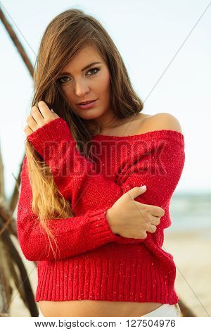Gorgeous Attractive Young Woman In Summer.