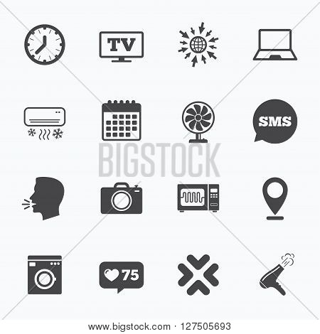 Calendar, go to web and like counter. Home appliances, device icons. Electronics signs. Air conditioning, washing machine and microwave oven symbols. Sms speech bubble, talk symbols.