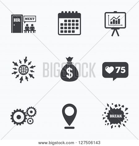 Calendar, like counter and go to web icons. Human resources icons. Presentation board with charts signs. Money bag and gear symbols. Man at the door. Location pointer.