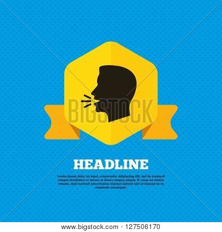 Talk or speak icon. Loud noise symbol. Human talking sign. Yellow label tag. Circles seamless pattern on back.