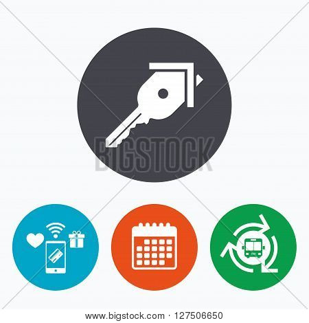 Key from the house sign icon. Unlock tool symbol. Mobile payments, calendar and wifi icons. Bus shuttle.