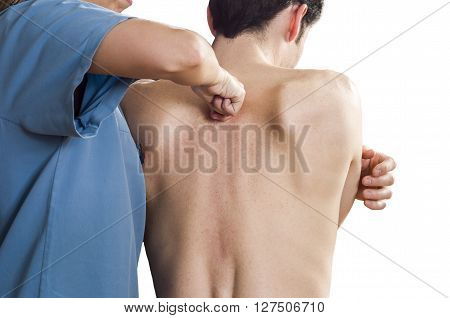 Physiotherapist Is Testing High Dorsal Over White Background.  Quick Scan.