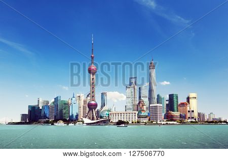 Shanghai skyline in sunny day, China