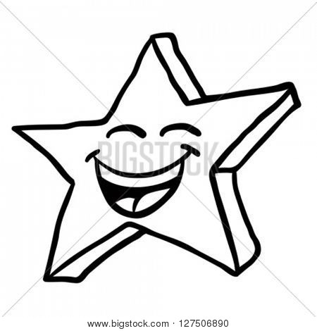 simple black and white smiling star