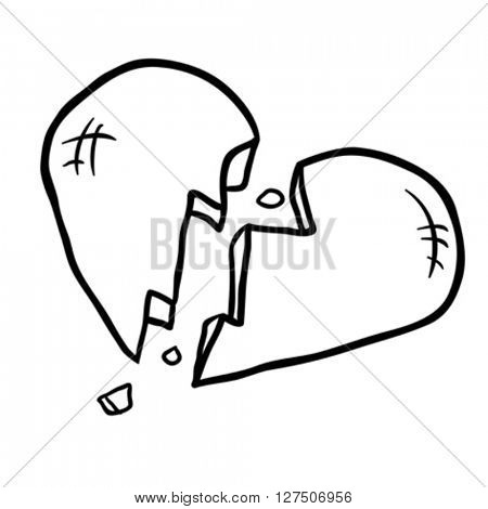 black and white broken heart cartoon illustration