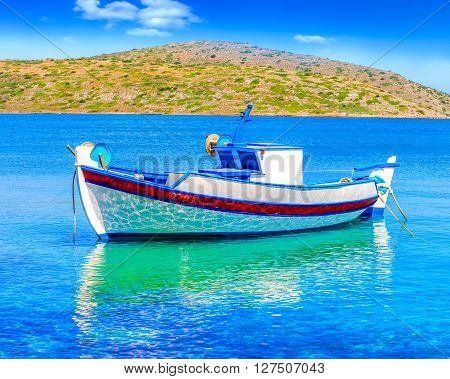 Fishing Boat Off The Coast Of Crete, Greece