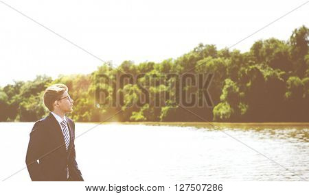 Businessman Vision Strategy Inspiration Business Travel Concept