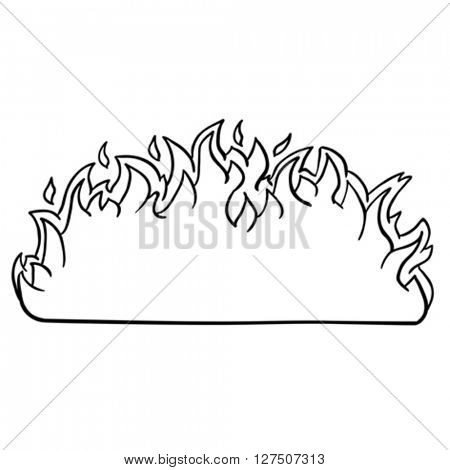 black and white fire border cartoon illustration