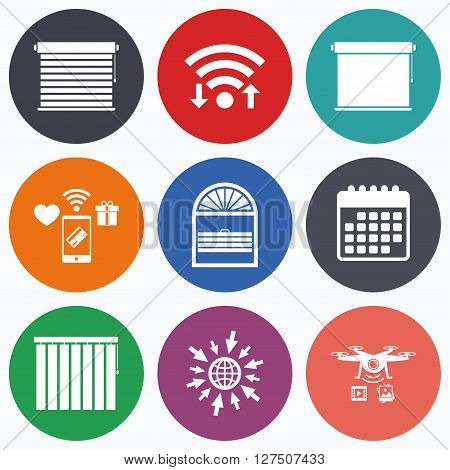 Wifi, mobile payments and drones icons. Louvers icons. Plisse, rolls, vertical and horizontal. Window blinds or jalousie symbols. Calendar symbol.