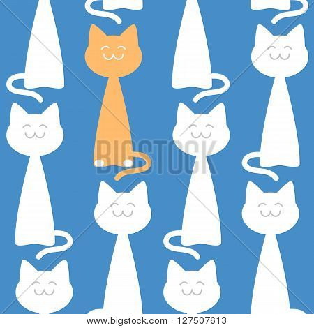 Happy elegant cats seamless pattern against blue background, vector illustration