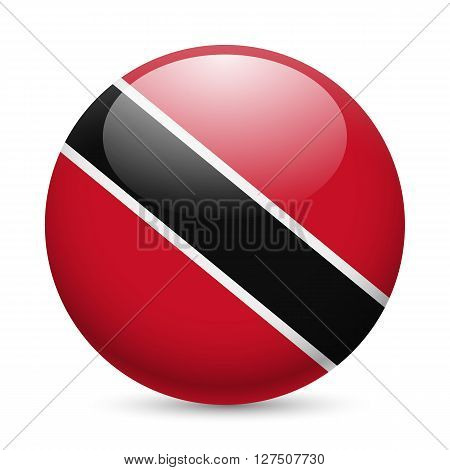 Flag of Trinidad and Tobago as round glossy icon. Button with flag colors