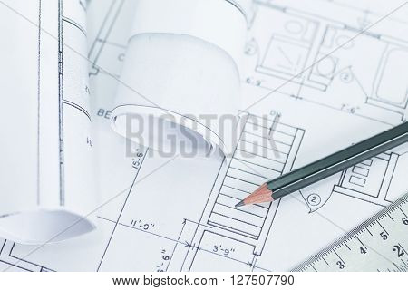 Architect rolls and plans. architectural plan technical project drawing.