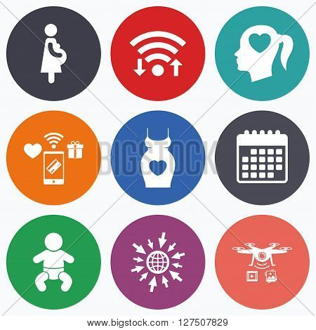 Wifi, mobile payments and drones icons. Maternity icons. Baby infant, pregnancy and dress signs. Head with heart symbol. Calendar symbol.