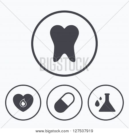 Maternity icons. Pill, tooth, chemistry and heart signs. Blood donation symbol. Lab bulb with drops. Dental care. Icons in circles.