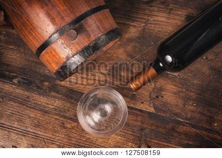 Oak Barrel And Wine Bottle