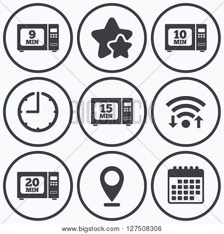 Clock, wifi and stars icons. Microwave oven icons. Cook in electric stove symbols. Heat 9, 10, 15 and 20 minutes signs. Calendar symbol.