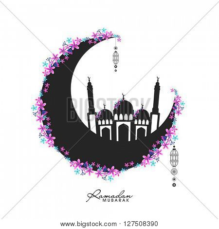 Beautiful flowers decorated, Crescent Moon and Mosque for Islamic Holy Month of Prayers, Ramadan Mubarak celebration.