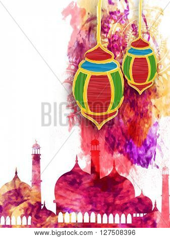 Beautiful creative Mosque with colourful hanging lamps on creative background, can be used as pamphlet, banner or flyer design for Muslim Community Festival celebration.