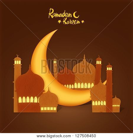 3D golden crescent Moon between creative paper Mosque on brown background for Islamic Holy Month of Prayers, Ramadan Kareem celebration.