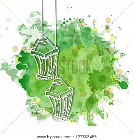 Creative Lamps hanging on green abstract background, Greeting Card design for Islamic Festivals celebration.
