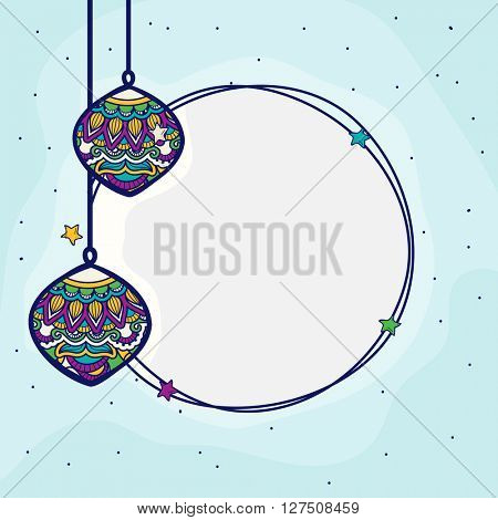 Elegant greeting card design with traditional floral hanging lamps and space for your wishes for Islamic Festival celebration.