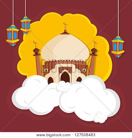 Creative Mosque on clouds with hanging lamps, Concept for Islamic Festivals celebration.