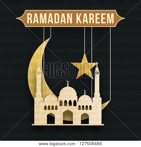 Creative hanging Paper Mosque, Big Crescent Moon and Star for Holy Month of Muslim Community Festival, Ramadan Kareem celebration.