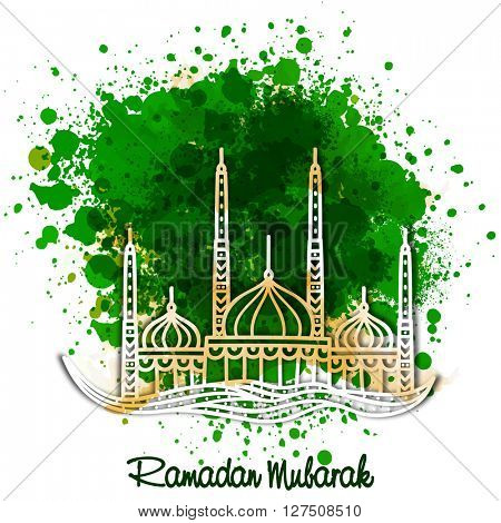 Creative Mosque on green colour splash background for Islamic Holy Month of Fasting and Prayers, Ramadan Mubarak celebration.