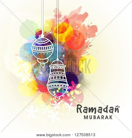 Elegant greeting card decorated with hanging traditional lamps on colourful abstract background for Holy Month of Muslim Community Festival, Ramadan Mubarak celebration.