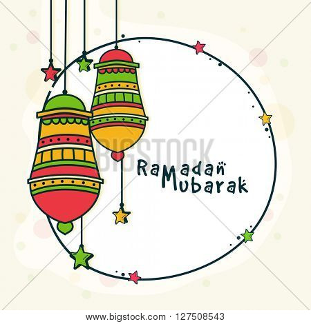 Elegant greeting card design decorated with colourful hanging Lamps for Holy Month of Muslim Community Festival, Ramadan Mubarak celebration.