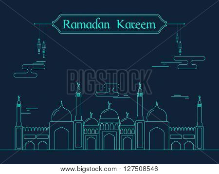 Creative flat illustration of a Mosque on blue background for Islamic Holy Month of Prayers, Ramadan Kareem celebration.