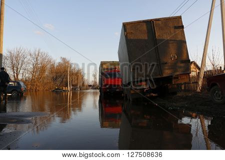 Russia, Kirov – April 27, 2016: High Water In River In A Spring Day At 27 Of April In 2016 In Kirov