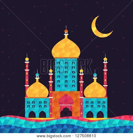 Creative Colourful Mosque for Islamic Festivals celebration concept.