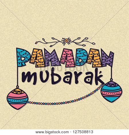 Elegant greeting card design with creative colourful text Ramadan Mubarak and hanging Lamps on grungy background.