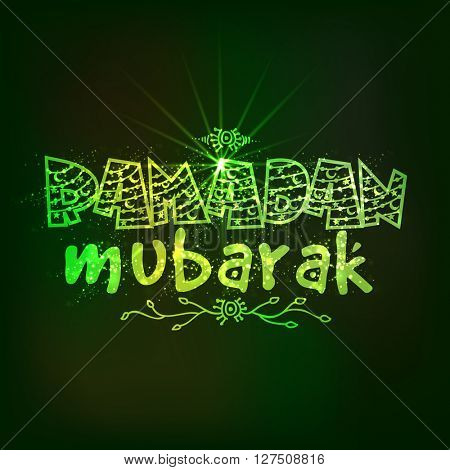 Elegant greeting card design with creative shiny text Ramadan Mubarak on green background for Islamic Holy Month of Fasting celebration.
