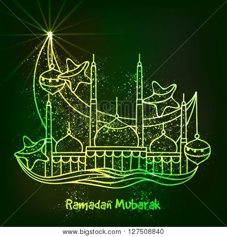Shiny Green Mosque with big Crescent Moon, Lamps and Stars for Holy Month of Muslim Community Festival, Ramadan Kareem celebration.