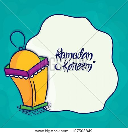 Elegant greeting card design with creative lamp for Holy Month of Muslim Community Festival, Ramadan Kareem celebration.