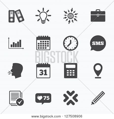 Calendar, go to web and like counter. Office, documents and business icons. Accounting, calculator and case signs. Ideas, calendar and statistics symbols. Sms speech bubble, talk symbols.