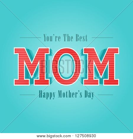 Greeting Card design with creative text Mom on shiny sky blue background for Happy Mother's Day celebration.