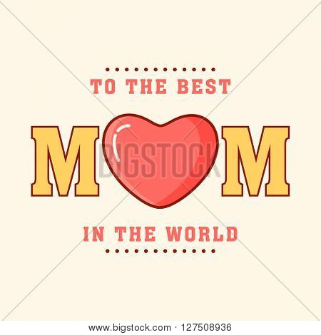 Greeting card design with stylish text Mom and heart for Happy Mother's Day celebration.