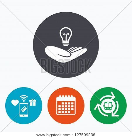 Idea patent insurance sign. Hand holds lamp bulb symbol. Intellectual Property. Mobile payments, calendar and wifi icons. Bus shuttle.