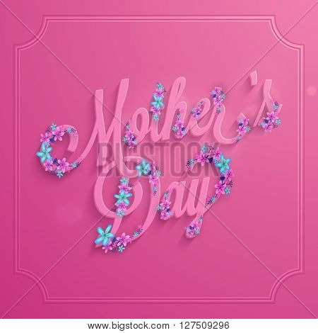 Elegant greeting card design with beautiful flowers decorated text Mother's Day on shiny pink background.
