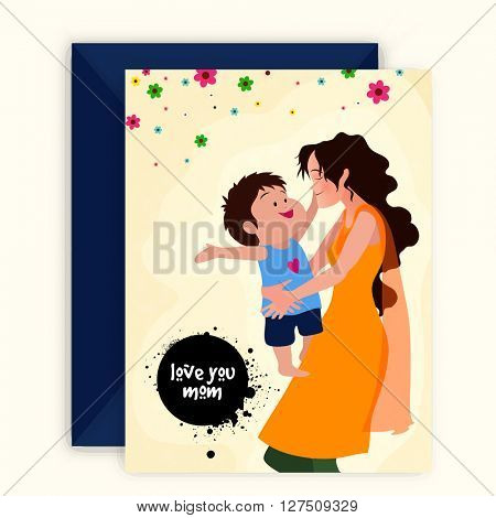 Illustration of a mother hugging and playing with her cute son, Elegant Greeting Card with Envelope for Mother's Day celebration.