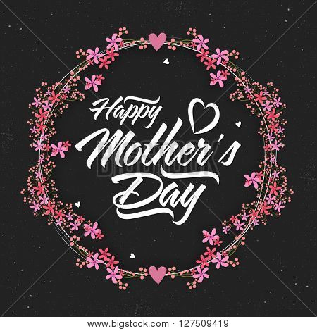 Stylish text Happy Mother's Day on beautiful pink flowers decorated frame.