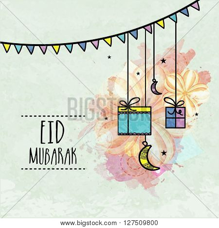 Elegant greeting card with hanging gifts and crescent moons on floral decorated background for Islamic Famous Festival, Eid celebration.