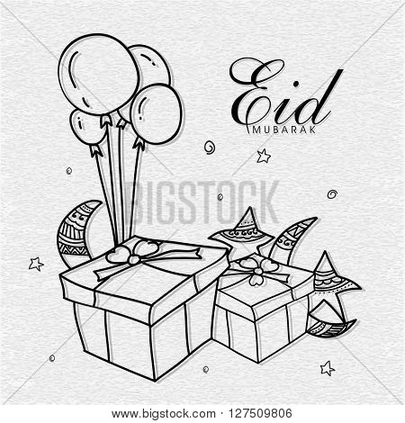 Elegant greeting card design with gift boxes, balloons, crescent moons and stars on grey background for Islamic Famous Festival, Eid Mubarak celebration.