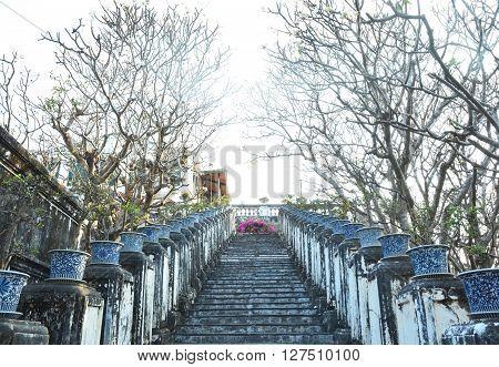 Old staircase among nature in Khao Wang or Phra Nakhon Khiri Historical Park