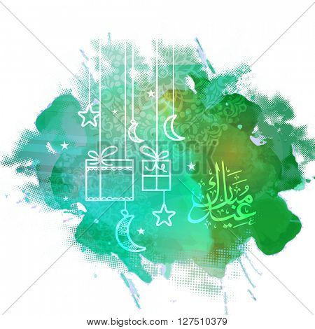 Creative greeting card design with hanging gifts, crescent moons, stars and Arabic Islamic Calligraphy of text Eid Mubarak on green splash background.